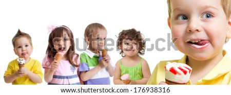 happy boy in front of kids group with ice cream isolated - stock photo