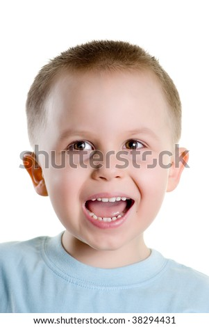 happy boy isolated on the white background - stock photo
