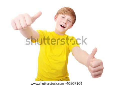 happy boy isolated on white - stock photo