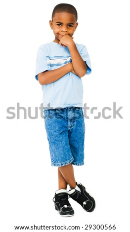 Happy boy posing with his hand on his chin isolated over white - stock photo