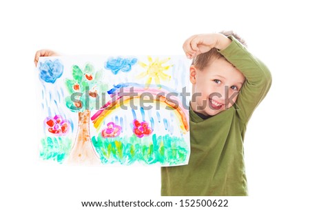 Happy boy showing his painting - stock photo