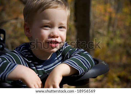 Happy boy sitting in stroller with autumn outdoor background