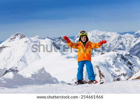Happy boy skiing on Sochi ski resort, Russia - stock photo