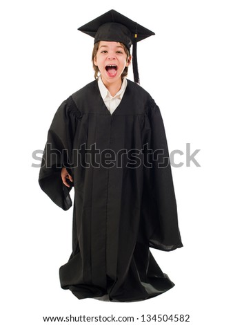 Happy Boy Wearing Graduation Gown Over White Background