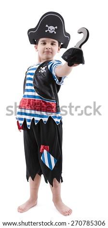 Happy boy wearing pirate costume. - stock photo