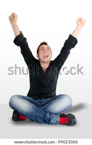 happy boy who exults - stock photo