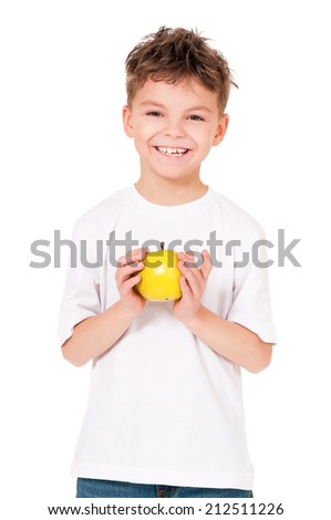 Happy boy with apple, isolated on white background - stock photo