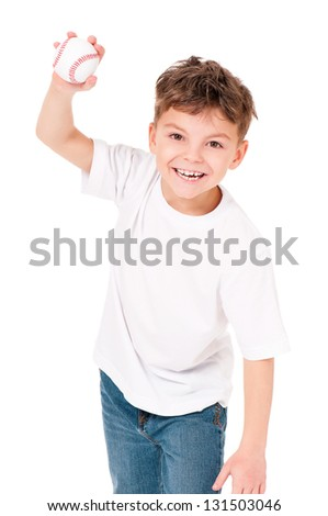 Happy boy with baseball ball, isolated on white background