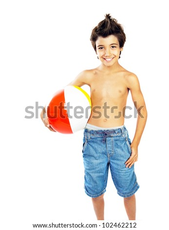 Happy boy with beach ball isolated over white background, kid having fun, healthy child playing game, cute teen enjoying sport and fitness, summer holidays and vacation - stock photo