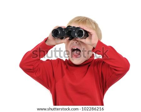 Happy boy with binoculars, isolated on white - stock photo