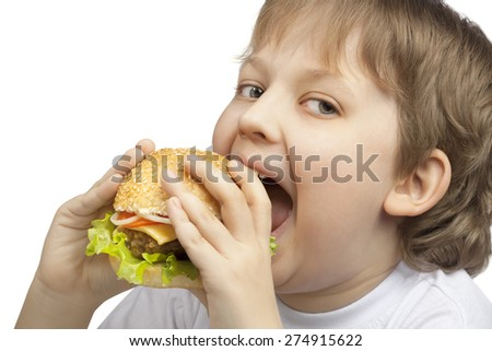 happy boy with burger
