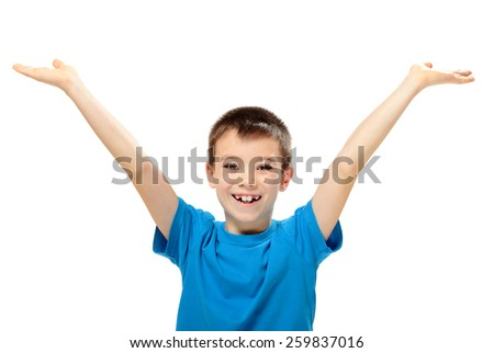 Happy boy with his hands up on white background - stock photo
