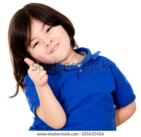 Happy boy with thumbs up - isolated over a white background