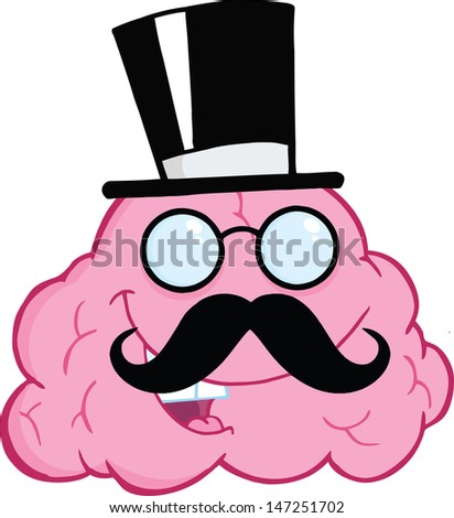 Happy Brain Gentleman Cartoon Character. Vector version also available in gallery - stock photo