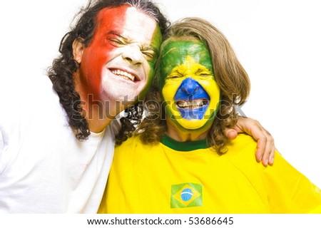 Happy Brazilian and Italian sport fan . - stock photo