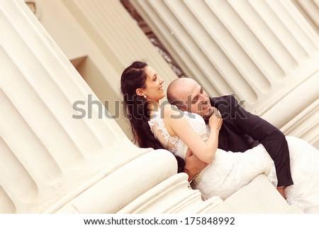 Happy bride and groom  - stock photo