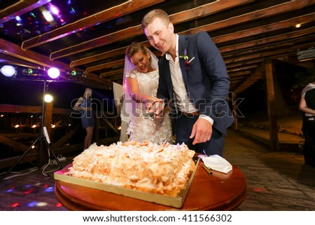 Happy bride and groom cutting big wedding cake with knife - stock photo