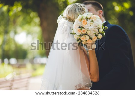 Happy bride and groom wedding - stock photo