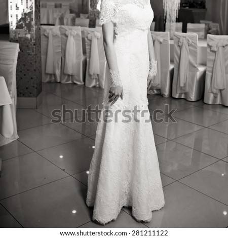 Happy bride posing. Wedding portrait of beautiful fiance in black and white.  - stock photo