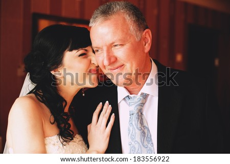 happy bride with father