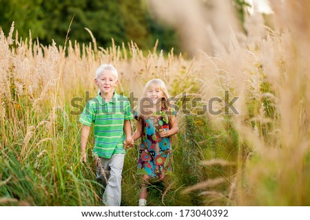 happy brother and  sister holding hands walking in the high grass in summer