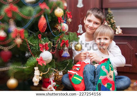 Happy brothers near an decorated fir-tree for Christmas - stock photo
