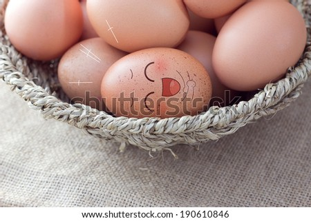 Happy brown egg with many friend ( chicken eggs ) - stock photo