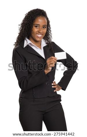 Happy business black woman holding card isolated on white background
