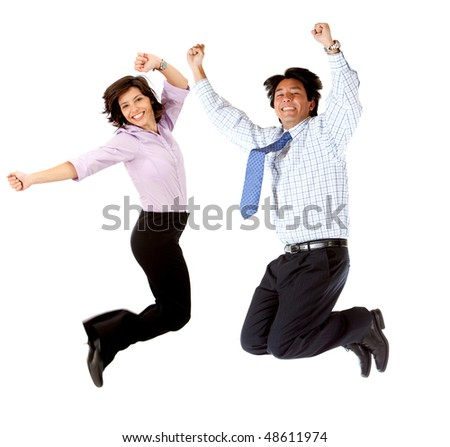 Happy business couple jumping isolated over a white background - stock photo