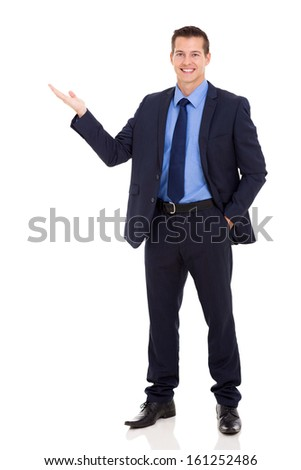 happy business executive presenting on white background - stock photo