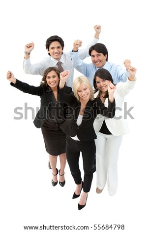 Happy business group with arms up - isolated over a white background - stock photo