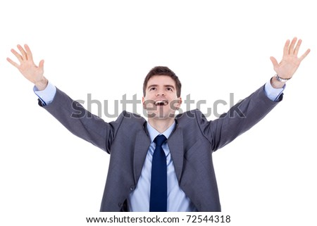 Happy business man expressing success and victory concept - stock photo