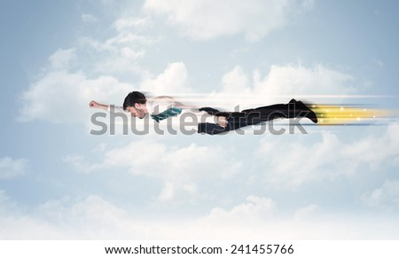 Happy business man flying fast on the sky between clouds concept - stock photo