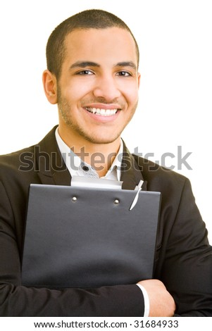 Happy business man holding a clipboard - stock photo
