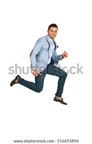 Happy business man jumping isolated on white background - stock photo