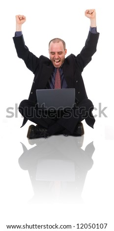 happy business man on a laptop on white