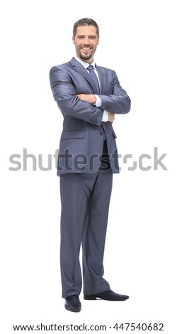 Happy business man on an isolated background