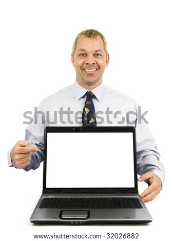 Happy business man pointing to presentation on laptop