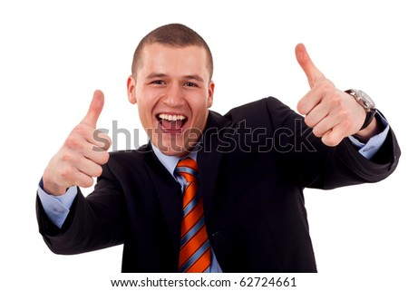 Happy business man showing his thumbs up with smile - stock photo