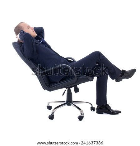 happy business man sitting on office chair isolated on white background - stock photo