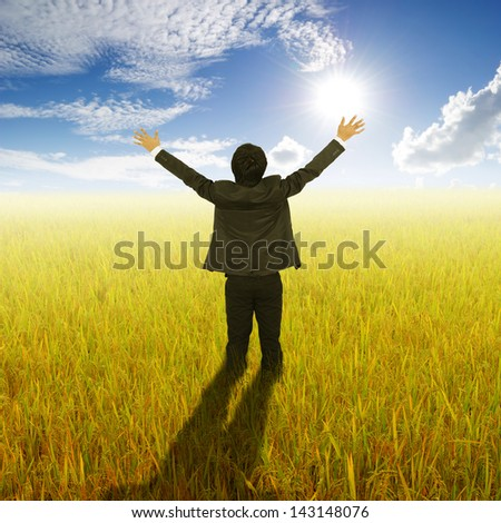 Happy Business Man standing in Yellow  rice field and sun sky - stock photo