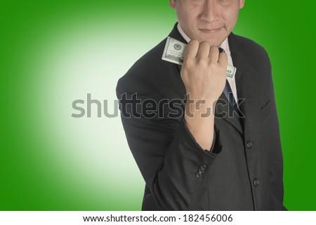 Happy business Man with money dollar. - stock photo