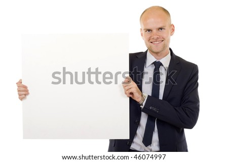 happy business man with white card over a white background