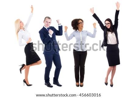 happy business people celebrating something isolated on white background - stock photo