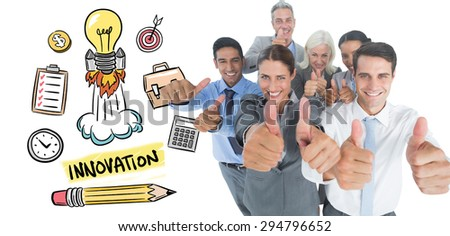 Happy business people looking at camera with thumbs up against innovation doodle - stock photo