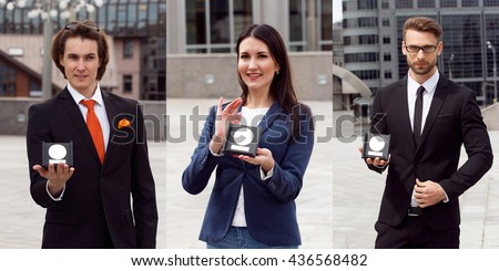 Happy Business people with award on urban background