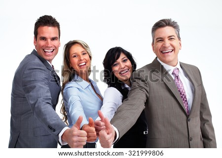 Happy business people with thumbs isolated white background. - stock photo