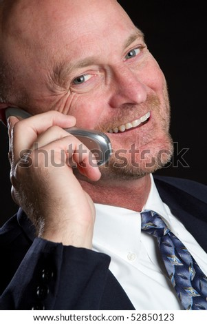 Happy Business Phone Man - stock photo