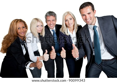 Happy business team celebrating a success with thumbs up on white background - stock photo