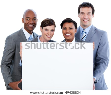 Happy business team holding a white card  against a white background - stock photo
